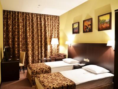 Фото уютного номера с двумя раздельными кроватями